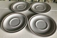 4 Stoneware Saucers Beige Brown Stripe Made in Japan JCPenney JC-Penney Vintage
