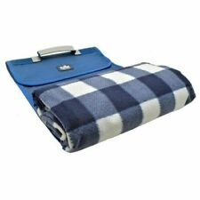 Large Picnic Blanket Waterproof Roll Up Mat Big Rug Blue Check Outdoor Travel