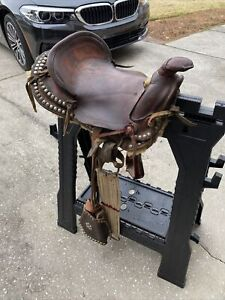 "12"" High Back Kid Children Basket Pattern Brown Leather Mini Pony Leather Saddle"