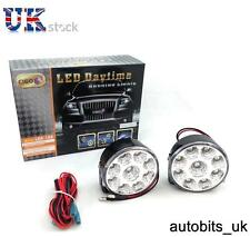 "DRL Daytime Running Lights Lamps 70mm/2.75"" Round 6000k 2 x 9 Clear White LED E4"