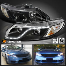 For 2006-2011 Honda Civic 4Dr Black R8 Style LED Strip Projector Headlights