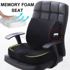 Black Memory Foam Lumbar Back Support Pillow Home Office Chair Seat Cushion