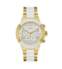 New Guess Ladies U0770L1 Roman Multi Dial White-Gold Stainless Band Watch