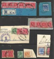 NIGERIA, AFRICA, 8 POSTMARKS ALL ON PIECE, ALL KGV PEROID. UNUSUAL