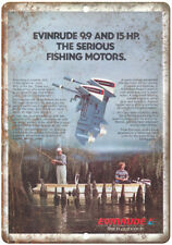 """Evinrude Outboard Vintage Boating Ad Fishing 10"""" x 7"""" Reproduction Metal Sign"""