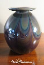Boyce Lundstrom Art Glass Vase Large Heavy Bulbous Purple Green Loops Recycled