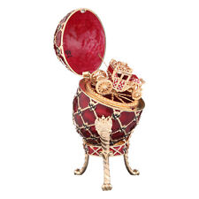 Faberge Egg / Trinket Jewel Box Russian Coat of Arms & Carriage 7.1'' (18cm) red