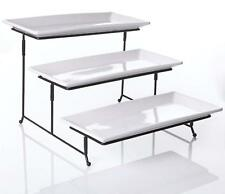 3 Tier Serving Tray - Collapsible Thicker Sturdier Plate Rack Stand w/ Platters