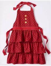 St Nicholas Square Christmas Adult Hostess Bib Apron - Red Plaid Buttons Ruffles