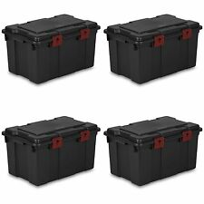 Sterilite 16 Gallon Storage Trunk Black with Red Latches (4 Pack) | 18419004