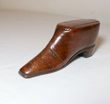 antique 18th century hand carved French wood Folk Art shoe snuff trinket box -