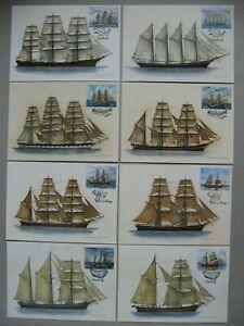 FINLAND ALAND,  8x maximumcard maxi card 2015-18, sailship tall ship