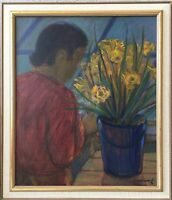 Interior With Person And Flowers - Bornemark Signed - Daffodils