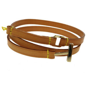 LOUIS VUITTON LV Logos Necklace Strap Charm Leather Brown Gold Plated 07BU197