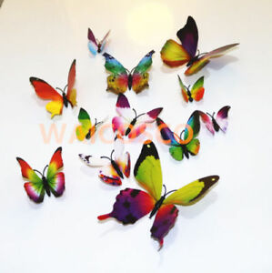 12 pcs Butterfly Wall Stickers 3D Art Decal Home Kids Room Decorations Decor DIY