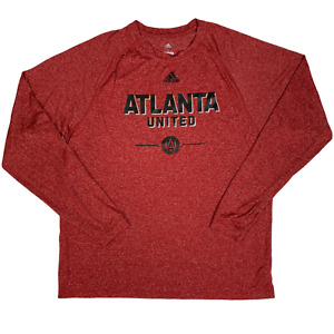 Adidas Men T-Shirt Red Atlanta United Long Sleeve Heather Climalite Polyester L