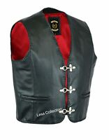Mens Real Leather Waistcoat /Biker Vest Braided With Fish Hook Buckles