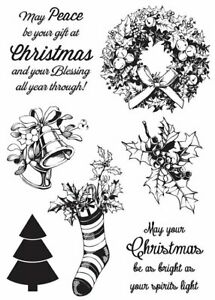 Kaisercraft Silent Night Clear Cling Stamps Christmas Wreath stocking bells