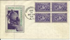 US BASEBALL Sc#855(block of 4)FIRST DAY IOOR CACHET Cooperstown