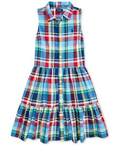 NWT Ralph Lauren Polo Big Girls Cotton Plaid Madras Shirtdress Dress 12
