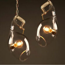 Clear Glass Pendant Lamp Vintage Hanging Light Metal Ceiling Light Fixtures New