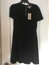 Burberry London  Black V Neck short sleeve pleated Dress NWT $1095  8