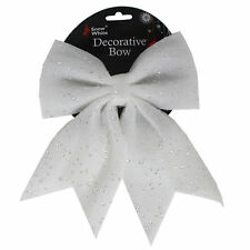 Christmas Tree Decoration 25cm Glitter & Sequin Bow - White