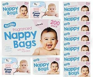 400 Pack Disposable Fragranced Nappy Bags Bin Sack Tie Handle Diaper Scented bag