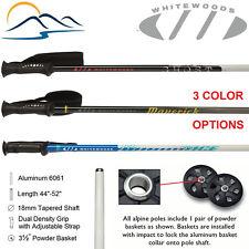 2021 Whitewoods Aluminum Downhill Ski Poles Sizes 18mm Tapered 44 - 52 Inches