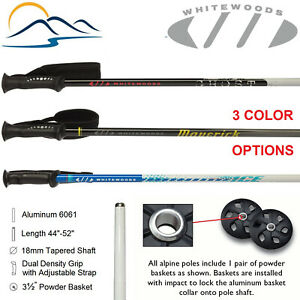 2021 Whitewoods Aluminum Downhill Ski Poles Sizes 18mm Tapered 44 - 52 Inches
