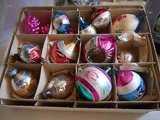 COFANETTO di 16 concavo dipinti a mano Vintage Christmas baubles