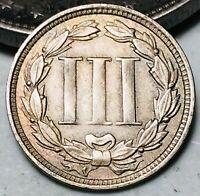 1868 Three Cent Nickel Piece 3C High Grade CHOICE Civil War Good US Coin CC6106