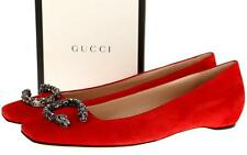 NEW GUCCI RED SUEDE LEATHER DIONYSUS CRYSTAL BUCKLES BALLET FLATS SHOES 36