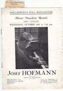 Concert Piano Recital Programme Josef Hofmann Manchester 1928