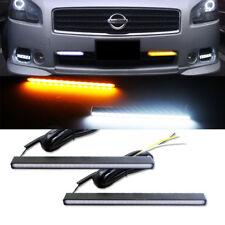 2x Ultra Slim Switchback White/Amber LED DRL Daytime Running Light Fog Lamps Kit