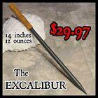 'EXCALIBUR' BLACK STEEL SPEAR TIP TORPEDO THROWING SPIKE SWORD w LEATHER HANDLE