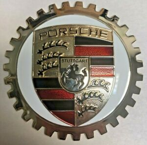 Indoor/Outdoor Badge/Emblem accessory for Porsche- Adhesive Backed-Chromed Brass