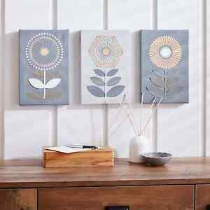 BEAUTIFULLY HAND STITCHED ELEMENTS OCHRE & GREY CANVAS FOR DECOR YOUR WALLS.
