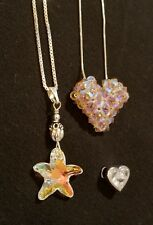 Sterling silver necklace lot super sparkly heart charms starfish charm 18grams