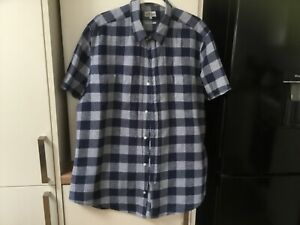 """NEXT BLUE CHECK SHORT SLEEVED SHIRT XL 44"""" CHEST 30"""" LONG EXCELLENT CONDITIO"""