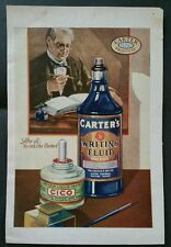 Vintage Color Magazine Ad for Carters Writing fluid other side Kyanize Enamel Ad