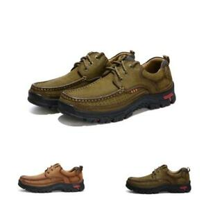 Mens Pumps Casual Lace Up Outdoor Breathable Climbing Flat Leather Shoes Comfort