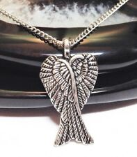 """ANGEL WINGS_Pendant on 18"""" Chain Necklace_Guardian Protection Feather Fairy_165N"""
