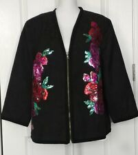 NWT Sharif 1827 Couture Womens Jacket Sz 2X Black Floral Sequin Beaded Zipped