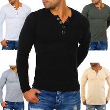 Young & Rich Herren Longsleeve langarm T-Shirt Knopfleiste big buttons stretch