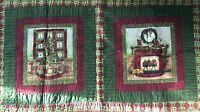Handmade Quilted Table Runner Christmas Tree Fireside Scenes Red Green 24 x 44