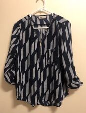 TEMT TOP BLUE STRIPES ROLL-UP SLEEVE TOP, Sz 8