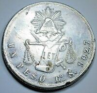 Mexico 1873 Go S Silver Un Peso Antique Old 1800's Mexican Large 1 Dollar Coin