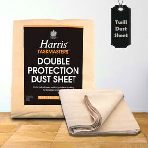 Harris Cotton Polythene Back Dust sheet Double Protection Twill Paint Cover