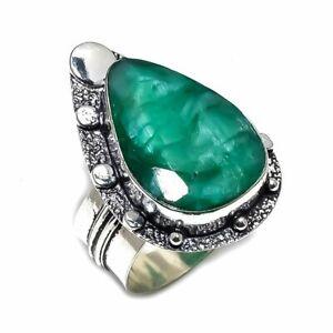 Zambian Mines Emerald Gemstone Ethnic Ethnic Ring Size 9